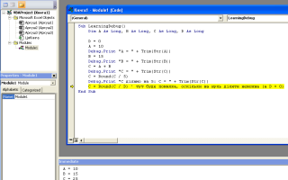 Excel debug print
